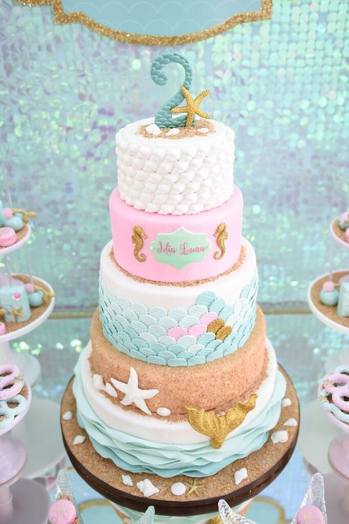 Cake from a Mermaid Oasis Themed Birthday Party via Kara's Party Ideas | KarasPartyIdeas.com (17)