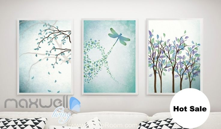 Green Theme Branch Dragonfly Canvas Prints Wall Decals Kids Art Decor Unframed IDCCV-BO-000196