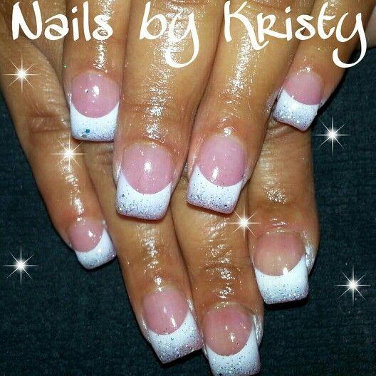 Princess Acrylic Nails: Pink And White Silver Glitter Princess Wedding Airbrush