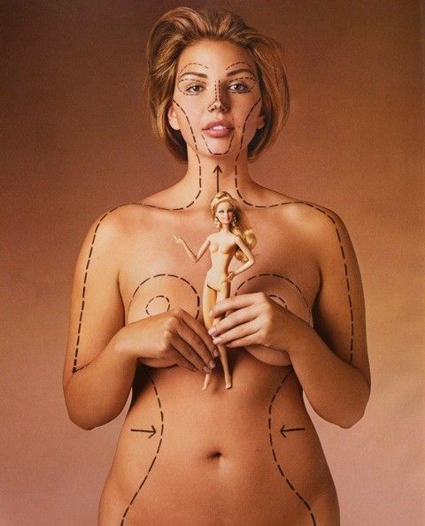 """Barbie's actual dimensions: 5'9"""" tall,39"""" bust,18"""" waist, 33"""" hips and a size 3…"""
