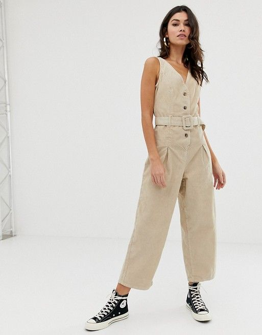 bcc4df30d9cd ASOS DESIGN button through jumpsuit cord in stone