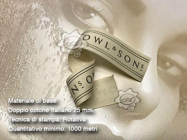 Nastro in cotone Italiano personalizzato con stampa in rotativa cotton ribbons, flat printed ribbons