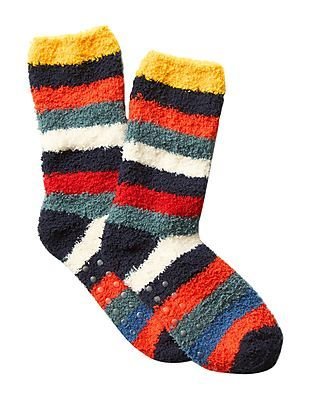 Inject some fun into his sock drawer with this pair of striped socks from GAP. Made from a soft cotton blend fabric, it features reinforced toe and heel, as well as a gripper logo at the sole for added traction. #multicoloured#striped @looksgud