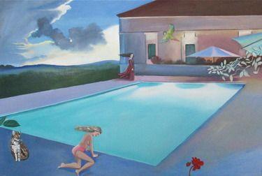 "Saatchi Online Artist Daisy Clarke; Painting, ""Aqua marine pool "" #art"