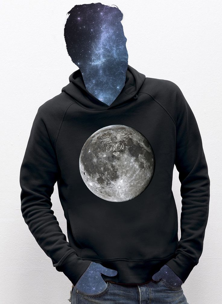 The Moon hoodie for men  / eco / organic cotton / fair trade / clothing with attitude