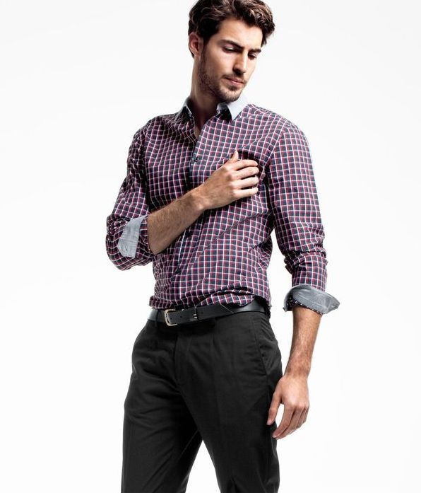 Antonio Navas men's business casual, check shirt & slacks
