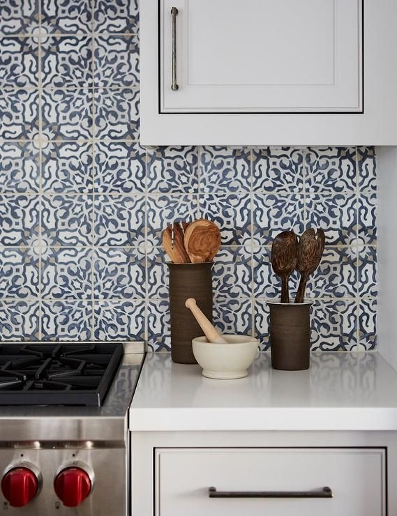 White And Blue Mediterranean Cooktop Backsplash Tiles Transitional Kitc Mediterranean Kitchen Design Backsplash Kitchen White Cabinets Transitional Kitchen