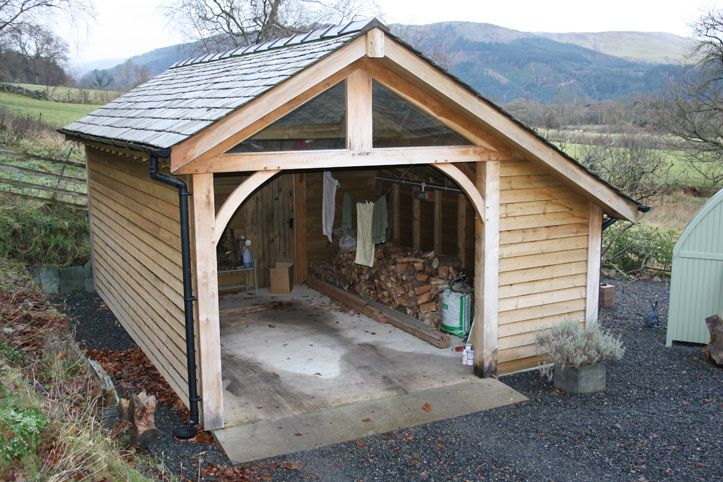 Garage with inside log store. Dry logs every time. Woodstyle Joinery