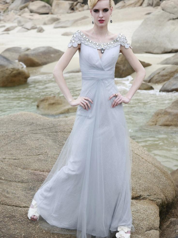 grey wedding dress.: Wedding Dressses, Evening Dresses, Gowns, Floors Length, Chiffon Prom Dresses, Cap Sleeve, Special Occa Dresses, The Dresses, Chiffon Dresses