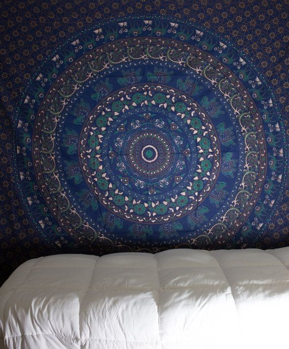 Blue Mandala Tapestry Navy Blue Tapestry by TheBohemianShop