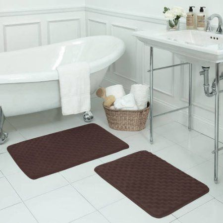 Bounce Comfort Premium Extra-Thick Memory Foam Bath Mat, Massage Micro Plush Mat with BounceComfort Technology, Set of 2, Brown