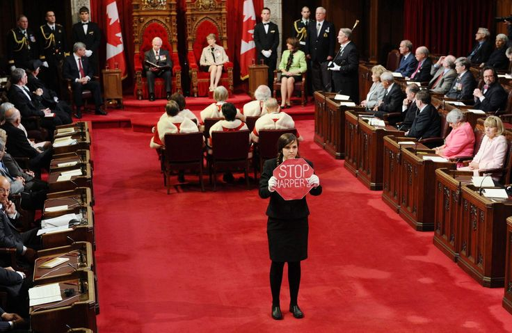 'Rogue Page' Brigette DePape protests the Conservative government during the Speech from the Throne (2011)
