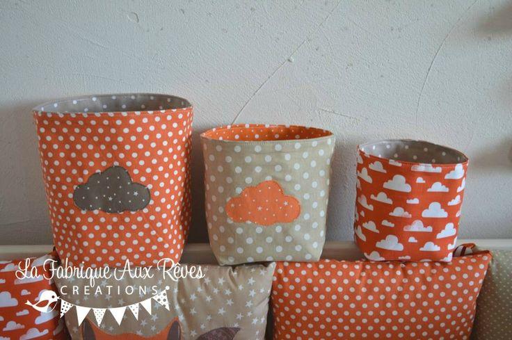 pochons panière rangement table à langer orange crème beige taupe nuage