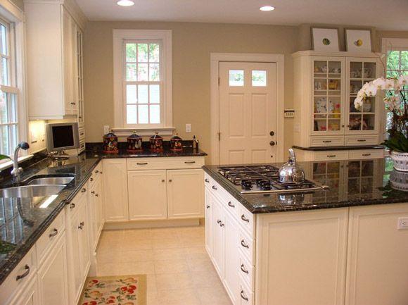White Kitchen Cabinets With Dark Black Granite Countertop For Modern
