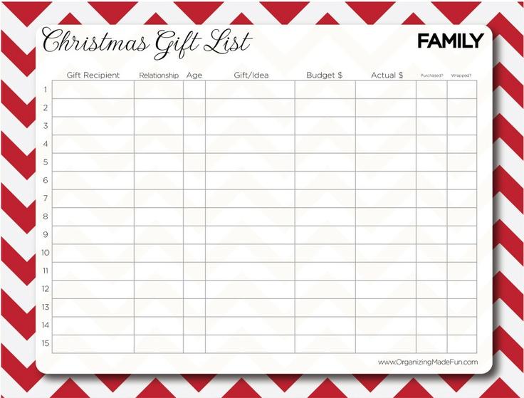 Free Christmas Gift List printableChristmas Shops, Christmas Gift Lists, Handmade Gift, Families Christmas Gift, Printables Gift, Families Gift, Lists Printables, Free Printables, Christmas Gifts