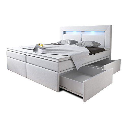 Boxspringbett 160x200 Weiß mit Bettkasten LED Kopflicht Kunstleder Hotelbett Polsterbett Brüssel (160 x 200)