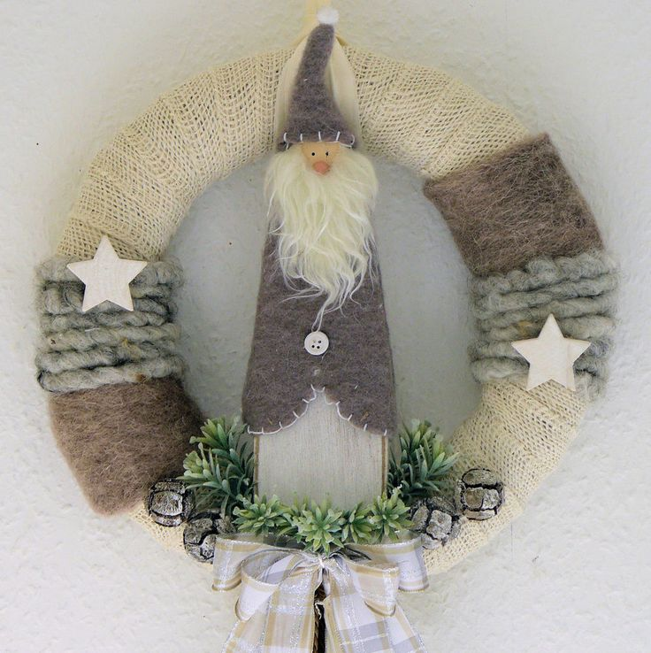 Türkranz Weihnachten Creme/braun Weihnachtsmann Kranz Türdeko Wandkranz  Hochzeit