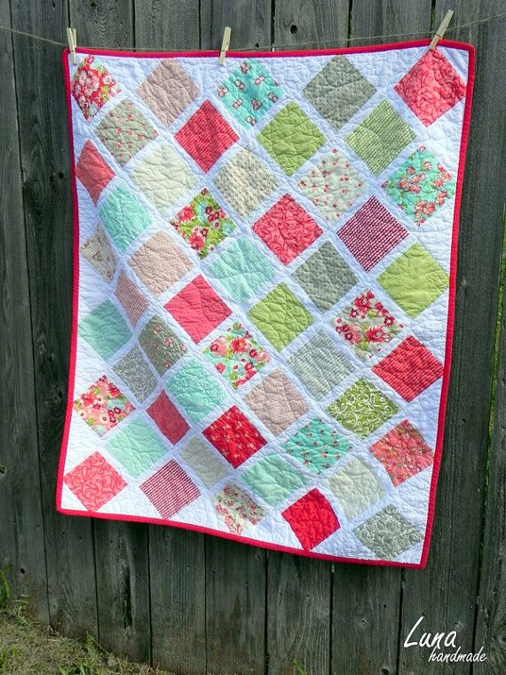Ruby by Moda fabric.  baby quilt idea.    this or chevron?
