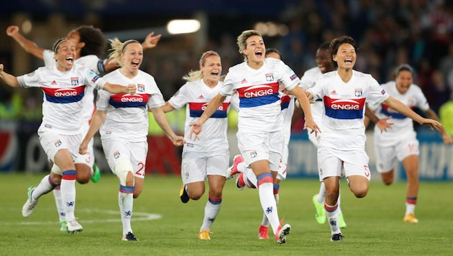 Lyon win the UEFA Women's Champions League Final after a 7-6 penalty shootout that ended dramatically with Paris St Germain's keeper Katarzyna Kiedrzynek missing her spot kick, and Lyon's keeper Sarah Bouhaddi making no mistake. It is Lyon's fourth European win, and gives them the treble for this season. 02.06.17