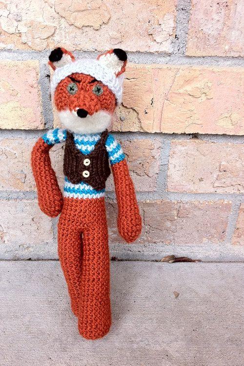 Amigurumi Crochet Fox, Mini Fantastic Hipster Fox Made to Order