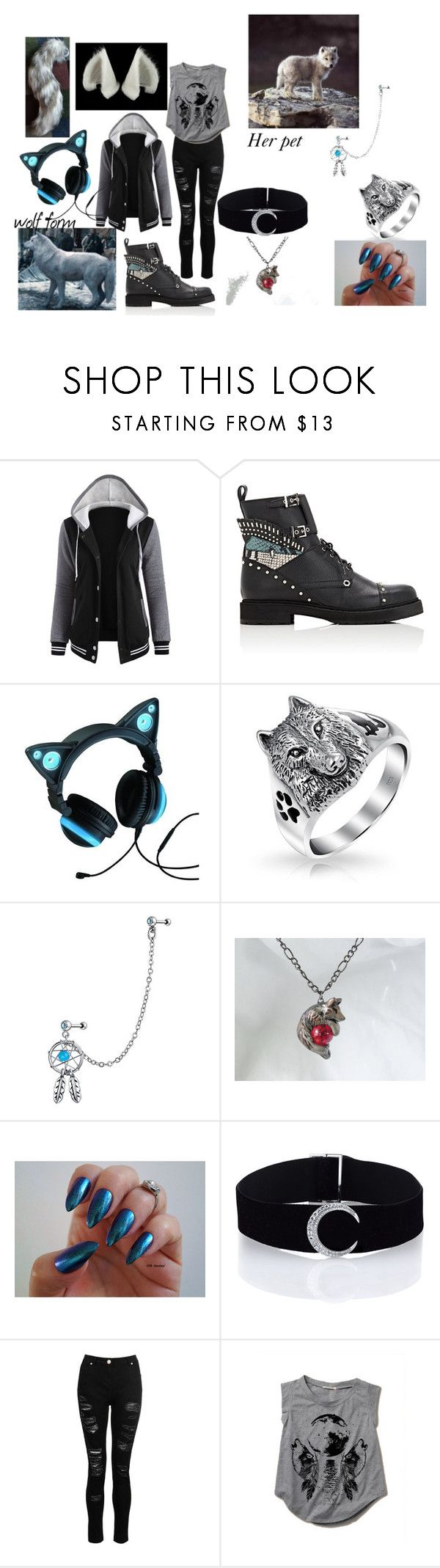 """Daughter of the Big Bad Wolf"" by outcastnation on Polyvore featuring Fendi, Bling Jewelry, Dorothy Perkins and Maison Kitsuné"