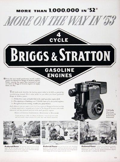 1953 Briggs Stratton Gasoline Engine Original Vintage