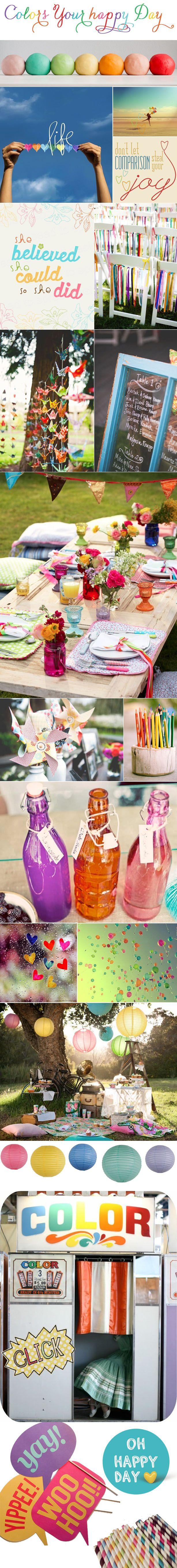 carnet de tendance : un mariage coloré. J'aime surtout les fleurs colorées sur des tables assez classiques, et les pailles
