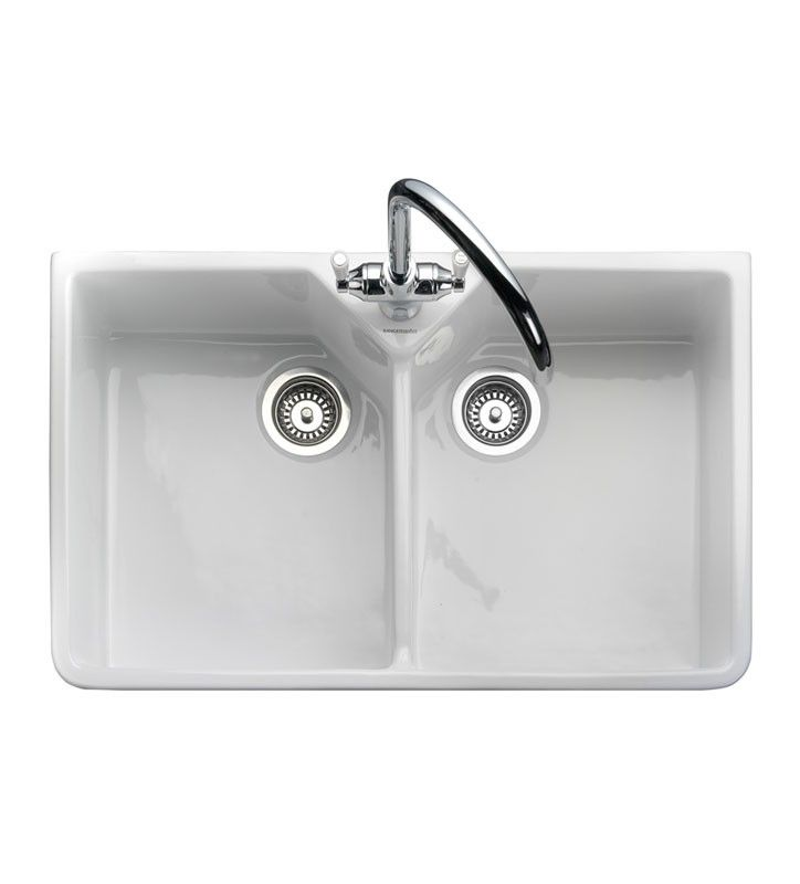 rak ceramic belfast double bowl butler kitchen sink bowl in home furniture diy kitchen plumbing fittings kitchen sinks without taps - Double Ceramic Kitchen Sink