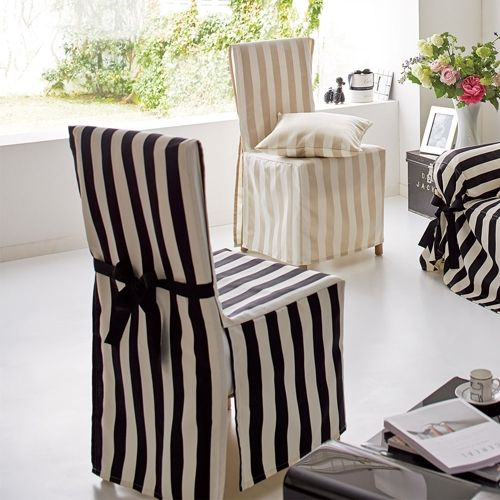 Satin Stripe/サテンストライプ ジャカード織チェアカバー リボンタイプ(1枚) 家具収納・インテリア雑貨専門 通販のハウススタイリング(house styling)
