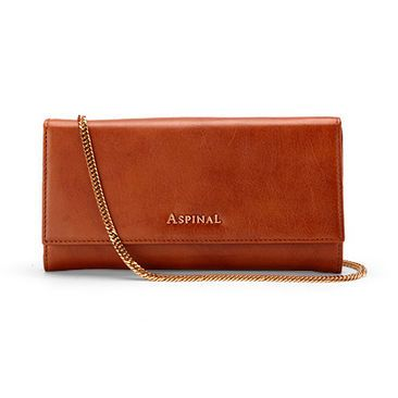 Grace Purse Clutch with Chain in Smooth Tan & Cream Suede - Aspinal of London