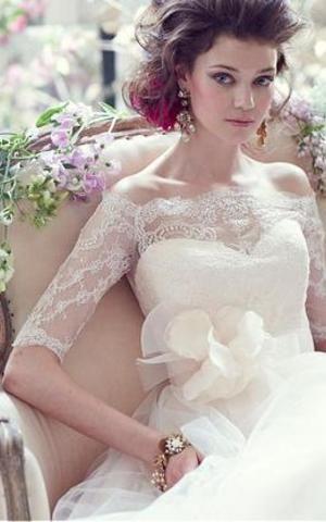 Robe de Mariée Exceptionnel Naturel Avec Bouton A-ligne