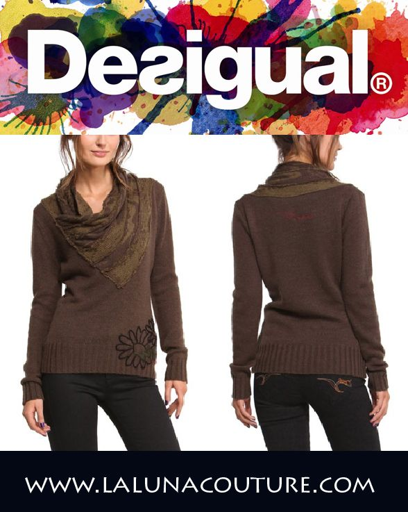 It may look like you're wearing a cool scarf but it's really part of the sweater! Only Desigual can pull that off! 95% Acrylic / 5% wool. Order yours now!  http://www.lalunacouture.com/Desigual_Xenia_pullover_knit_sweater_p/xenia.htm  #desigual #sweater #brown #shop #boutique #ootd