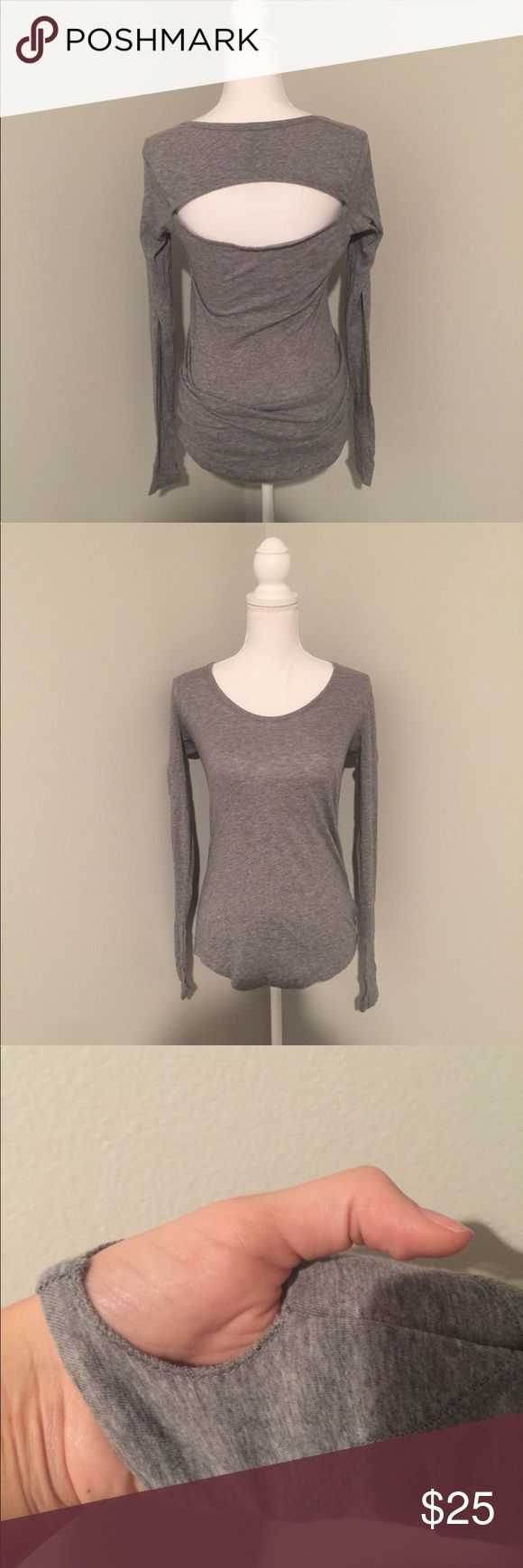 BOBI Gray top with back cut out and thumb holes NWOT. High quality comfy top! Bought It for the gym , but never worn it. Has thumb holes and the back is really cute . Leggings are in separate listing .retails at $70, this is a steal!!!! 😁😁😁 bobi Tops Tees - Long Sleeve