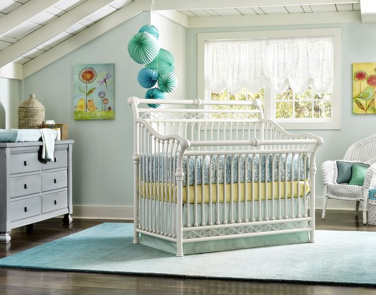 Mint and Yellow crib bedding by Pine Creek on Babyu0027s Dream Furniture Cirque  iron crib