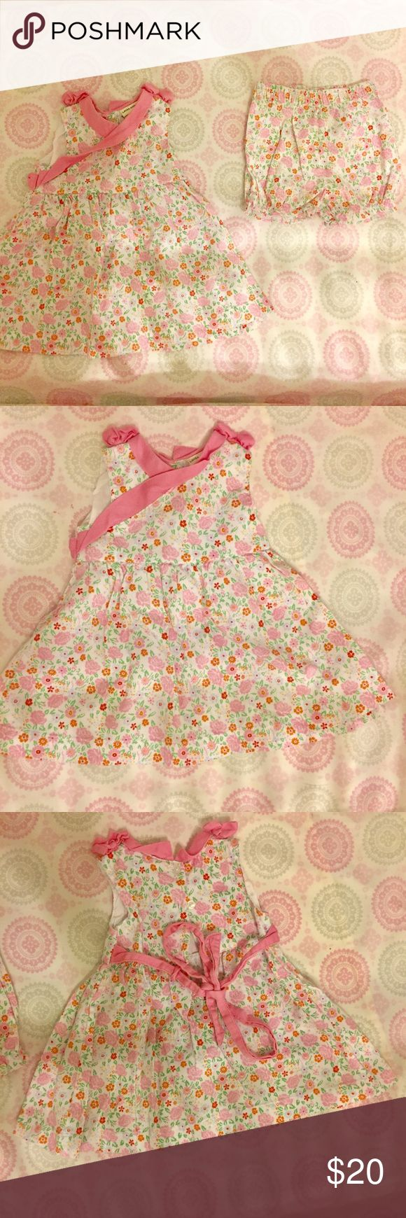 Laura Ashley 6m Floral Baby Girl **updated pics** 6m Laura Ashley floral dress with shorts.  Cream color with pink and orange.  Dress is made to be worn with the shorts to cover diaper.  Super cute outfit great for summer or fall.  In excellent condition, only worn a few times.  No issues or problems at all.  Love this!  Great for pictures, church, party, special occasions or every day.  Very versatile.  High quality material. Laura Ashley Matching Sets