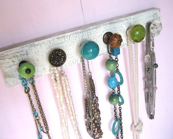 """Necklace Holder with Blue and Green Knobs by AuntDedesBasement, $36.00"" I need one about five feet long to organize my excess of accessories!"