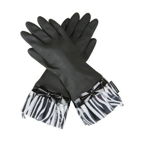 Black Fashion Gloves with Zebra Cuff and Bow by Gloveables by Gloveables. $14.79. Protects hands from heat, chemicals and dirt. Handy hang tab. Decorative oilcloth fringe. Natural latex rubber. Gloveables waterproof gloves are unlike any ordinary kitchen glove you?ve ever tired. The perfect way to protect your hands while still being fashionable and comfortable ? Gloveables brand latex gloves are ideal for cleaning, dishwashing, gardening, and anything else that coul...