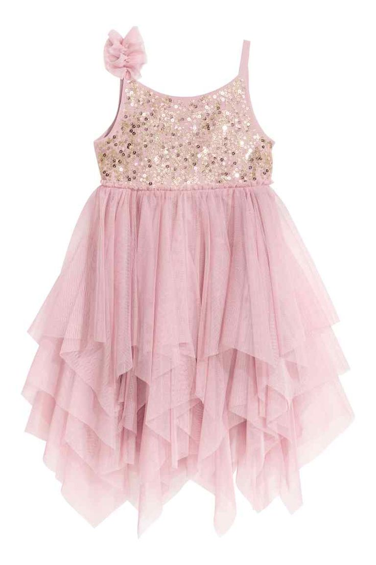 Tulen jurk met pailletten - Oudroze - | H&M NL