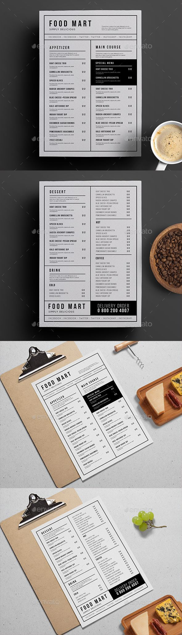 Simple Restaurant Menu — Photoshop PSD #steak #wood • Download ➝ https://graphicriver.net/item/simple-restaurant-menu/19172738?ref=pxcr