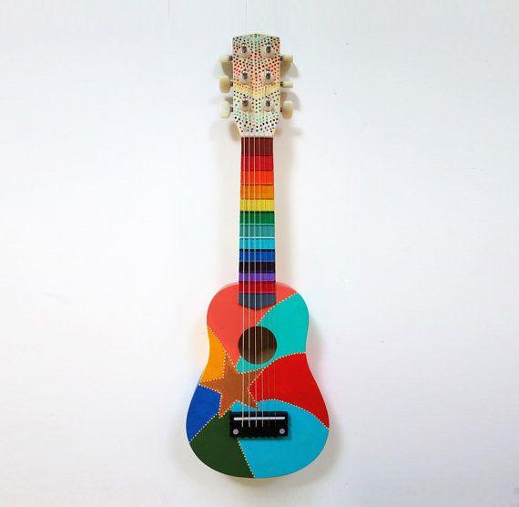 Hand Painted Rainbow Star Small Guitar by PreciousBeast on Etsy