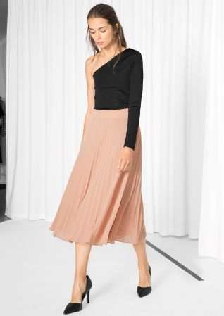 & Other Stories image 2 of Pleated Midi Skirt in Beige