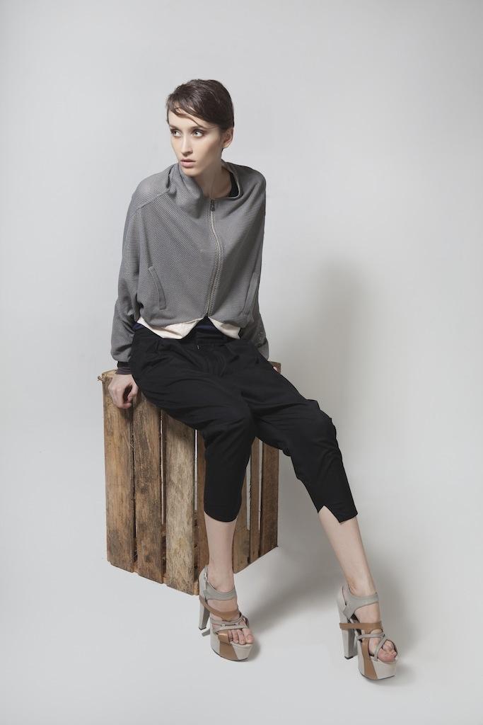 Womenswear. Sporty Cropped Jacket   Black Pleated Pants