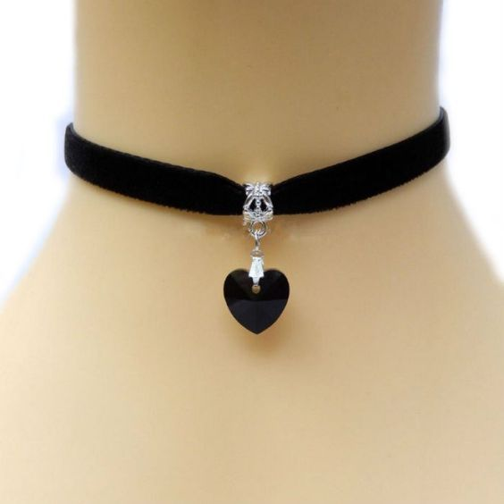 DIY idea black satin choker with black heart glass bead and silver metal rings.