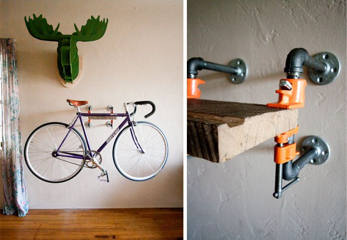 apparently i have a thing for wall mounted bike racks love the rustic utilitarian vibe this one. Black Bedroom Furniture Sets. Home Design Ideas
