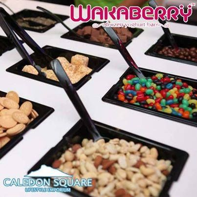 So many delicious yummy toppings to put on your swirl of happiness at #Wakaberry George - Caledon Square. Come indulge yourself! #caledonsquare #lovewakaberry