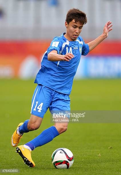 Khurshid Giyosov of Uzbekistan controls the ball during the FIFA U20 World Cup Group F match between Fiji and Uzbekistan at the Northland Events...