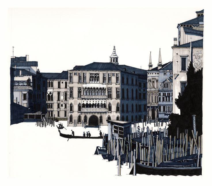 Ca' Foscari on the Grand Canal, Venice. #Venice #Grand Canal #Architecture #Art #Drawing