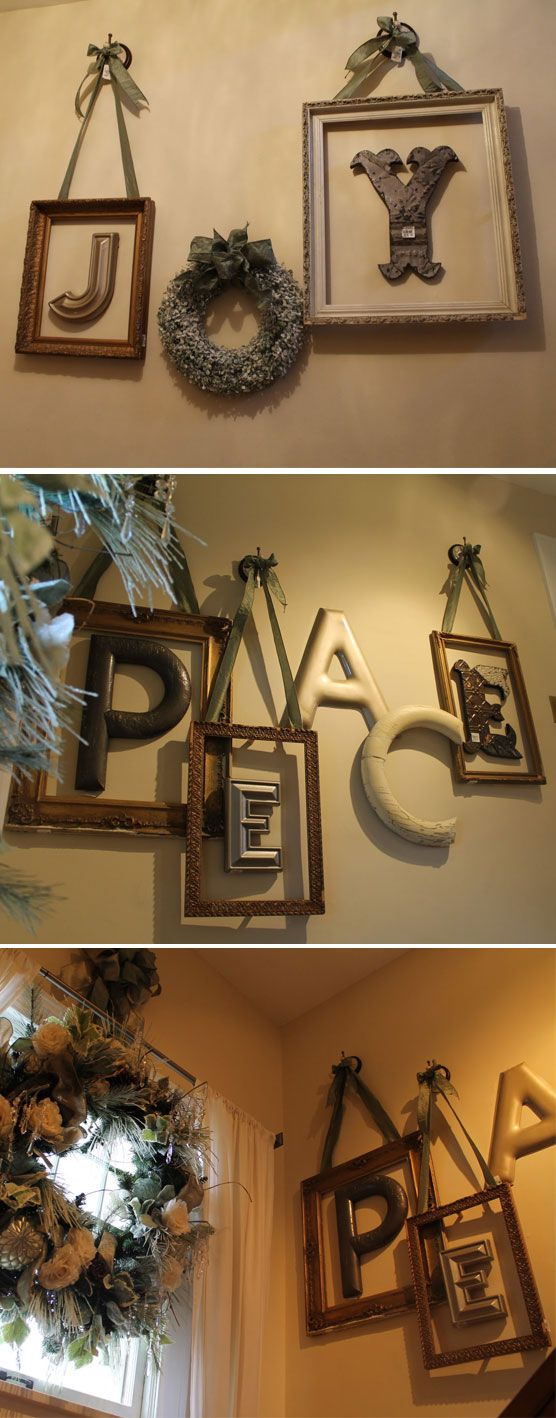 WALL DECOR :: I'm SO DOING THIS! Instead of Chrismas themed, I'll use maybe like Love or some Frenchy words...but I love the frames w/ the ribbon. I think I'll use a boxwood wreath, instead, too. LOVE LOVE LOVE this idea!!!