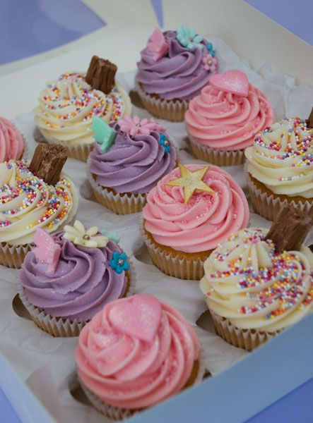 Pink & Lilac Girly Birthday Cupcakes - This is IT for Kathleen's birthday!