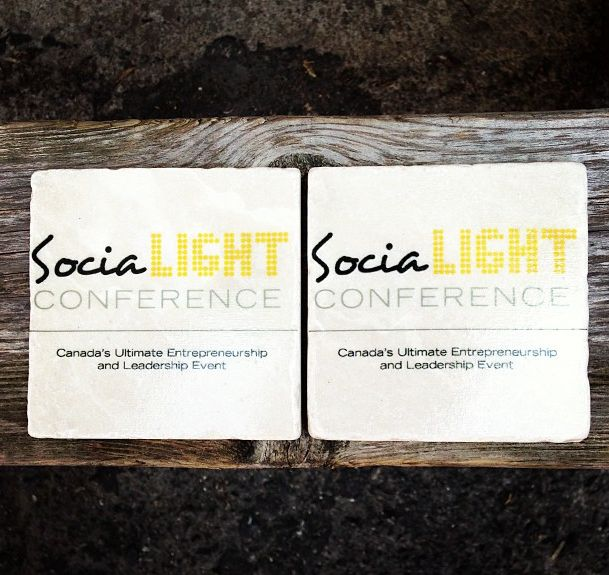 SociaLIGHT conference coasters. #custom #coaster